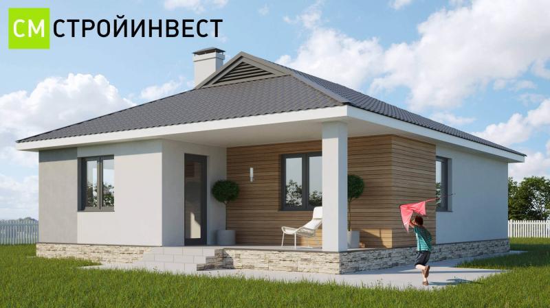 Проект энергоэффективного дома 100м2 с летней террасой