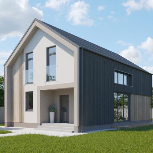 Проект 1 квартирного современного дома  125 м2