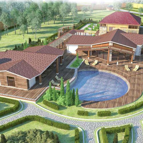 Эскизный проект и рабочие чертежи загородного банного комплекса